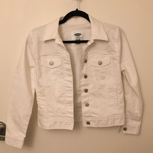 NEW old navy stay white petite denim jacket